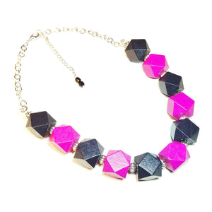 Chunky Bright Pink & Black Wood Necklace 20.5-23 inches