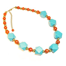 Load image into Gallery viewer, Chunky Blue Wood, Semi-Precious Red Coral & Antique Brass Necklace 20.5-23 inches