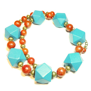 Chunky Blue Wood, Semi-Precious Red Coral & Antique Brass Necklace 20.5-23 inches