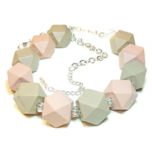 Load image into Gallery viewer, Chunky Dusky Pink & Mushroom Brown Wood Necklace 21-23.5 inches