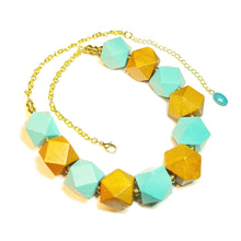 Load image into Gallery viewer, Chunky Blue & Tan Wood & Antique Gold Necklace 21-23.5 inches