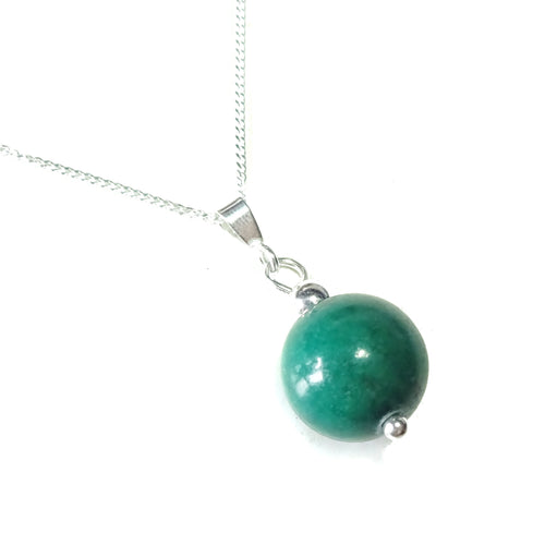 Dark Green Mountain Jade Gemstone & Sterling Silver Ball Pendant