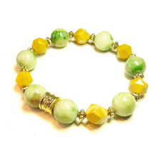 Load image into Gallery viewer, Green & Brown Mountain Jade, Yellow Jasper & Antique Gold Stretch Bracelet - 20cm