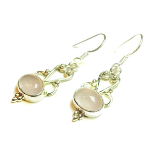 Pink Rose Quartz & Sterling Silver Gemstone Filigree Earrings