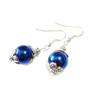 Blue Haematite Gemstone Drop Earrings