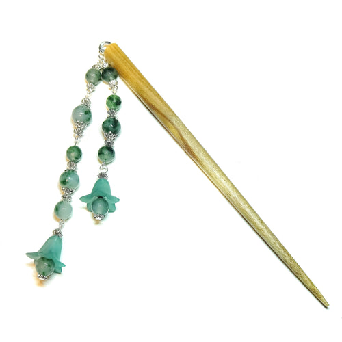 Brown Wood Hair Stick w Teal Quartz & Lucite Flowers