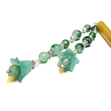 Load image into Gallery viewer, Brown Wood Hair Stick w Teal Quartz & Lucite Flowers