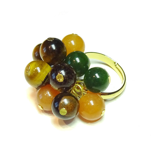 Brown Tiger's Eye, Red Aventurine, Taiwan Jade Gemstone Gold Plated Cha Cha Ring