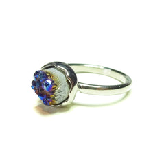 Load image into Gallery viewer, Colbalt/Purple Natural Druzy Quartz Rhodium Plated Ring