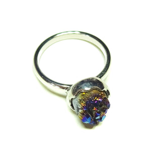 Colbalt/Purple Natural Druzy Quartz Rhodium Plated Ring