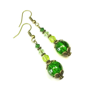Green & Antique Brass Cracked Glass Earrings w. Swarovski Crystals