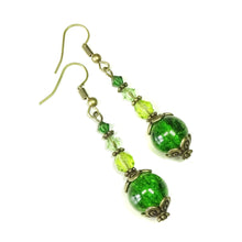 Load image into Gallery viewer, Green & Antique Brass Cracked Glass Earrings w. Swarovski Crystals