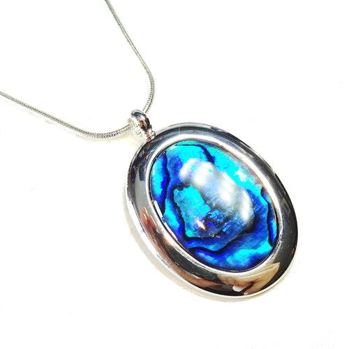 Blue Abalone Shell Classic Large Gemstone Pendant