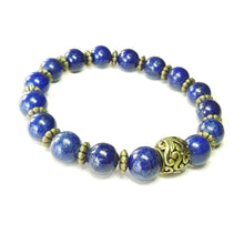 Load image into Gallery viewer, Blue Lapis Lazuli & Brass Stretch Gemstone Bracelet Approx. 20cm