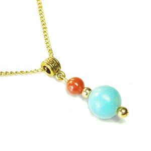 Blue Turquoise, Red Jasper & Old Gold Pendant