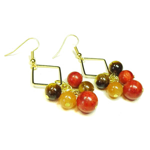 Coral, Orange Aventurine & Tiger's Eye Old Gold Cluster Earrings