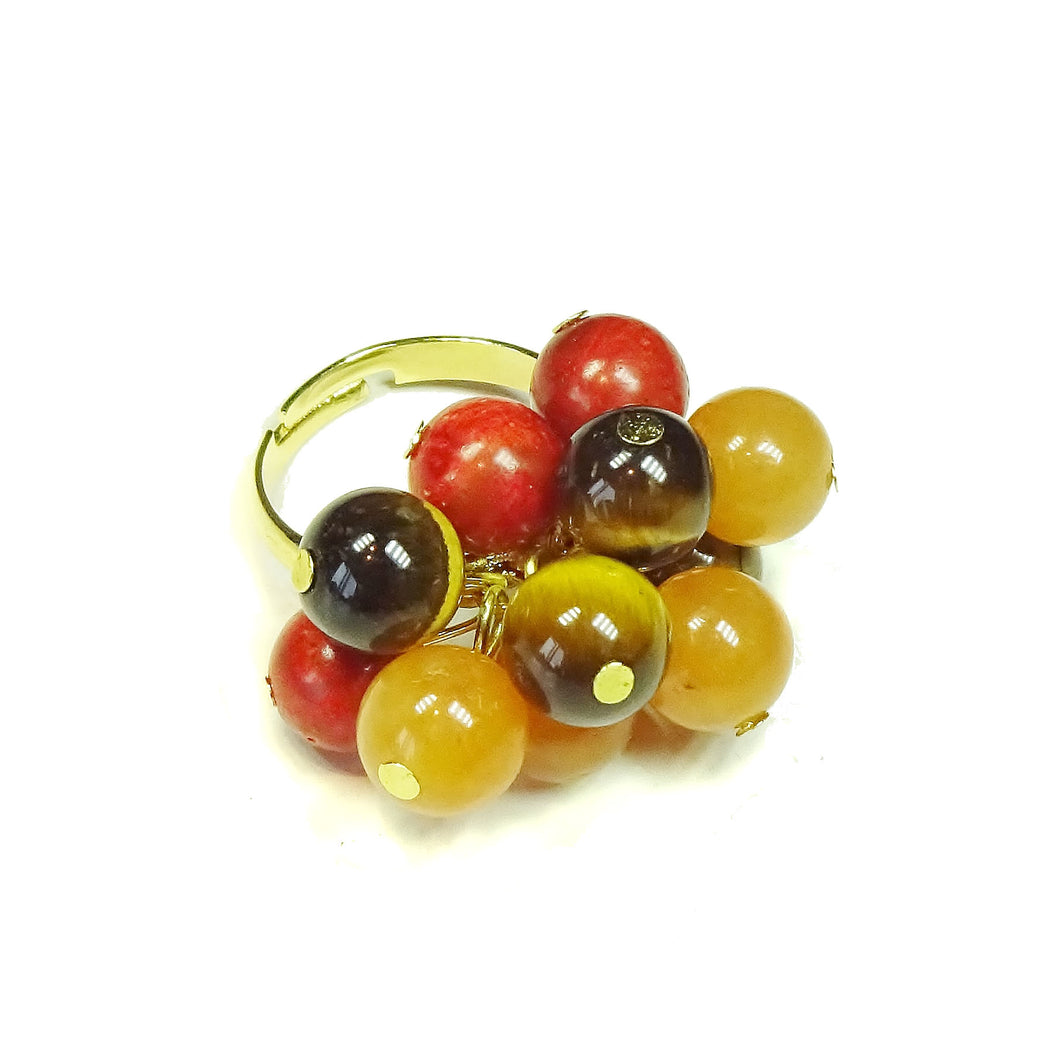 Brown Tiger's Eye, Red Aventurine, Coral Gemstone Gold Plated Cha Cha Ring