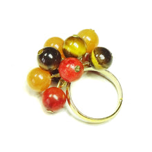Load image into Gallery viewer, Brown Tiger's Eye, Red Aventurine, Coral Gemstone Gold Plated Cha Cha Ring