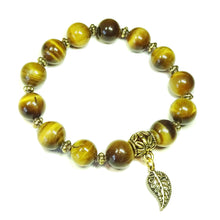 Load image into Gallery viewer, Brown Tiger's Eye Gemstone & Antique Gold Stretch Bracelet - 21cm