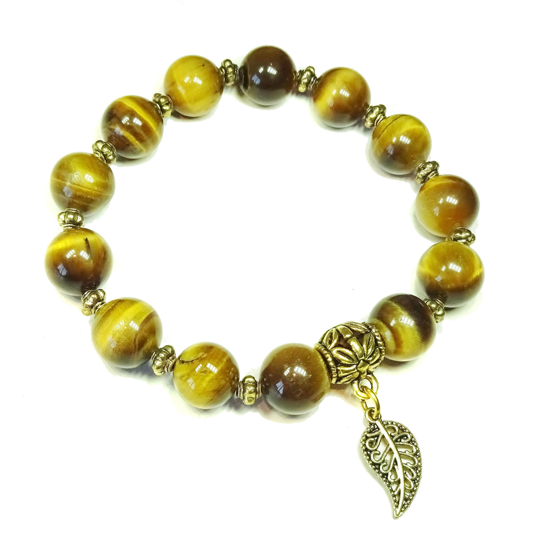 Brown Tiger's Eye Gemstone & Antique Gold Stretch Bracelet - 21cm