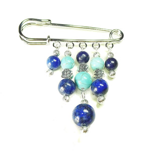 Blue Turquoise & Lapis lazuli Gemstone Handcrafted Kilt Pin/Brooch