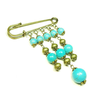 Blue Turquoise Gemstone Brass Kilt Pin / Brooch