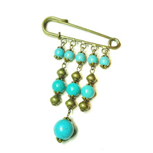Load image into Gallery viewer, Blue Turquoise Gemstone Brass Kilt Pin / Brooch