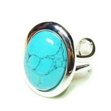 Load image into Gallery viewer, Blue Turquoise Classic Semi-precious Gemstone Adjustable Ring 23 x 17mm