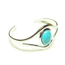 Load image into Gallery viewer, Blue Turquoise Classic Gemstone Silver Plated Bangle