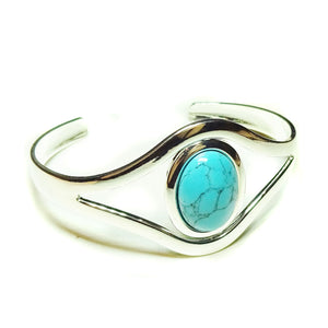Blue Turquoise Classic Gemstone Silver Plated Bangle