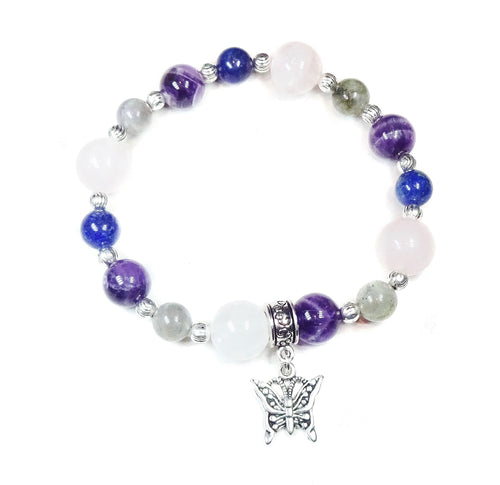 Gemstone Power Bracelet - Lapis Lazuli, Labradorite, Rose Quartz, Amethyst - Calming & Relaxation