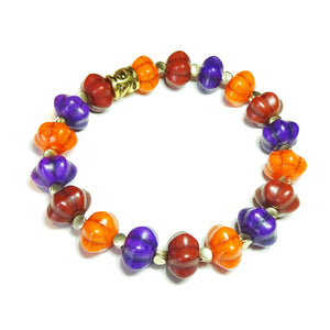 Bright Orange, Purple, Brown & Old Gold Pumpkin Bead Gemstone Stretch Bracelet - 20cm