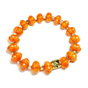 Bright Orange, Old Gold Pumpkin Bead Gemstone Stretch Bracelet - 20cm