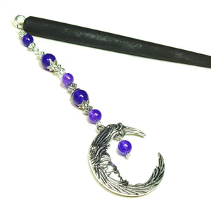 Black Wood Hair Stick w Purple Quartz & Crescent Moon Charm