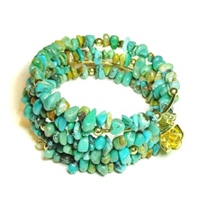 Load image into Gallery viewer, Blue Turquoise Gemstone Chip & Gold Plated Wrap Cuff / Bangle