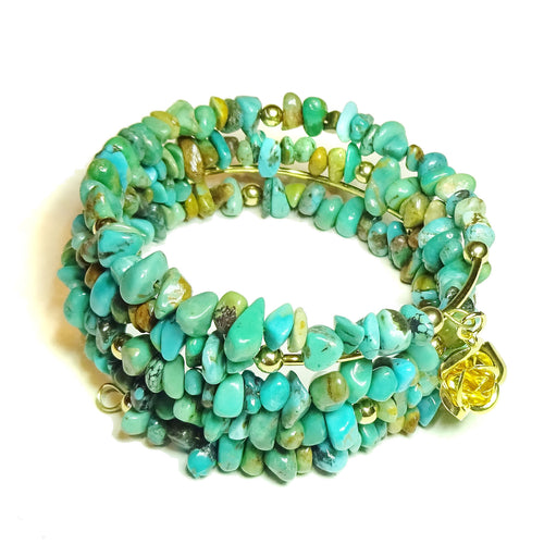 Blue Turquoise Gemstone Chip & Gold Plated Wrap Cuff / Bangle