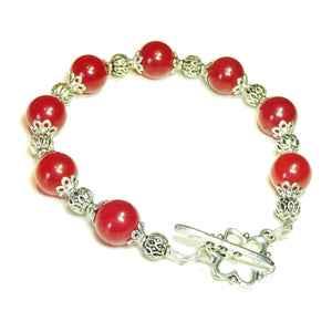 Cherry Red Jade Gemstone Beaded Bracelet 20.5cm