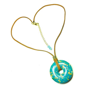 Blue Turquoise Matrix Large Round Gemstone Donut Pendant - 45mm