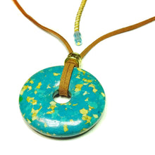 Load image into Gallery viewer, Blue Turquoise Matrix Large Round Gemstone Donut Pendant - 45mm