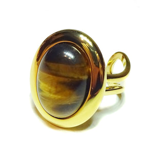 Brown Tiger's Eye Classic Semi-precious Gemstone Gold Plated Adjustable Ring