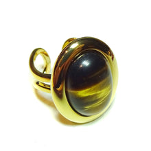 Load image into Gallery viewer, Brown Tiger's Eye Classic Semi-precious Gemstone Gold Plated Adjustable Ring