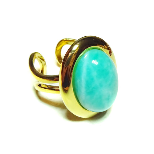 Blue Jasper Classic Semi-precious Gemstone Gold Plated Adjustable Ring