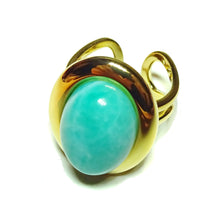 Load image into Gallery viewer, Blue Jasper Classic Semi-precious Gemstone Gold Plated Adjustable Ring