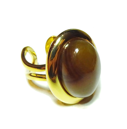 Coffee Brown Agate Classic Semi-precious Gemstone Gold Plated Adjustable Ring