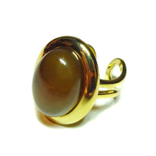 Load image into Gallery viewer, Coffee Brown Agate Classic Semi-precious Gemstone Gold Plated Adjustable Ring