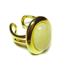Load image into Gallery viewer, Pale Orange Aventurine Classic Semi-precious Gemstone Gold Plated Adjustable Ring