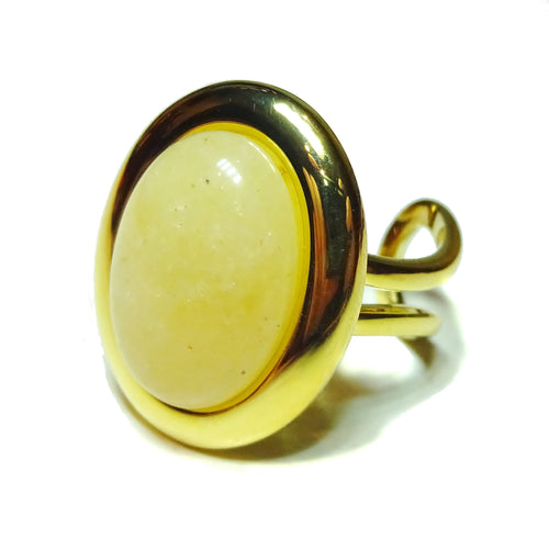 Pale Orange Aventurine Classic Semi-precious Gemstone Gold Plated Adjustable Ring