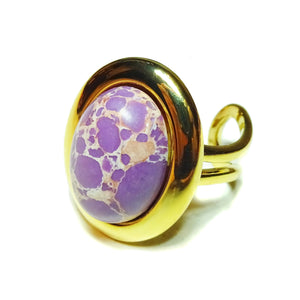 Purple sea Sediment Jasper Classic Semi-precious Gemstone Gold Plated Adjustable Ring