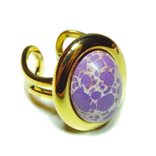 Load image into Gallery viewer, Purple sea Sediment Jasper Classic Semi-precious Gemstone Gold Plated Adjustable Ring