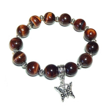 Load image into Gallery viewer, Red Tiger's Eye Gemstone Stretch Bracelet - 21cm